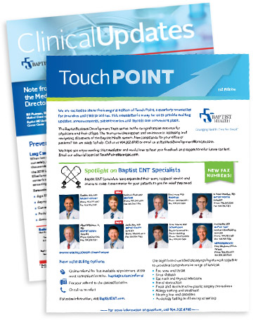 TouchPoint newsletters on display